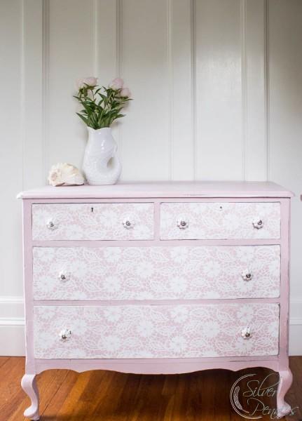 Lace pink dresser makeover