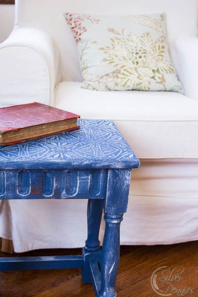 Stenciled Table creates a lovely textured seating area