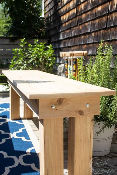 Close up of our DIY Cedar Bench