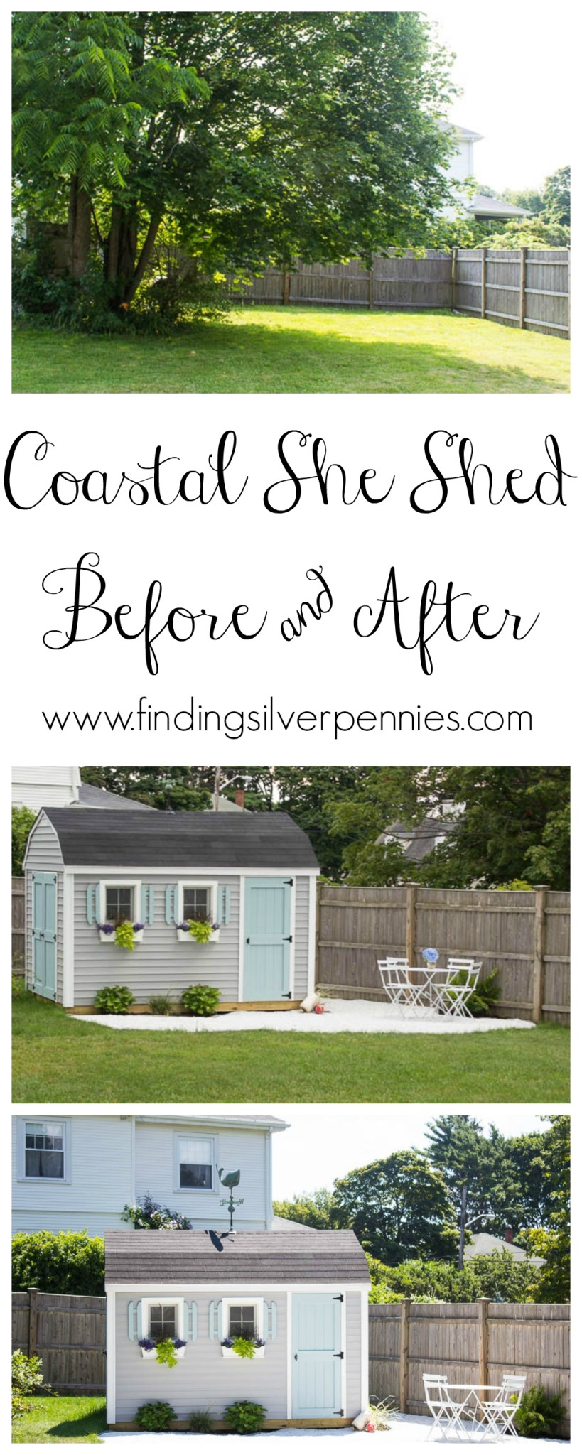 Coastal She Shed Before and After Exterior