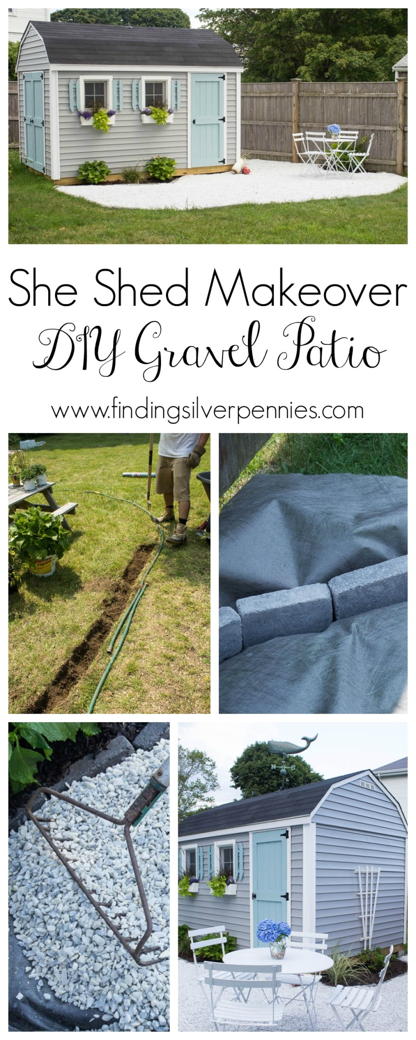 She Shed Makeover DIY Gravel Patio
