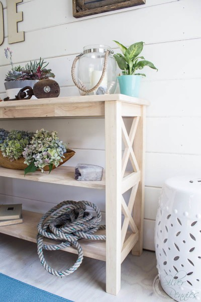 Shelf with coastal styling