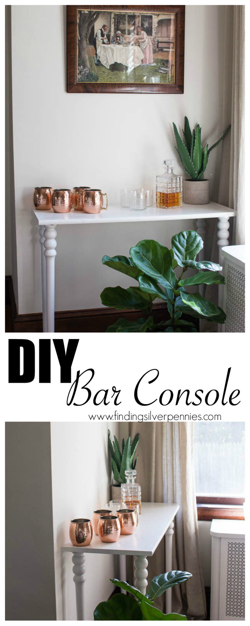 DIY Bar Console with a Faux Marble Finish by Finding Silver Pennies