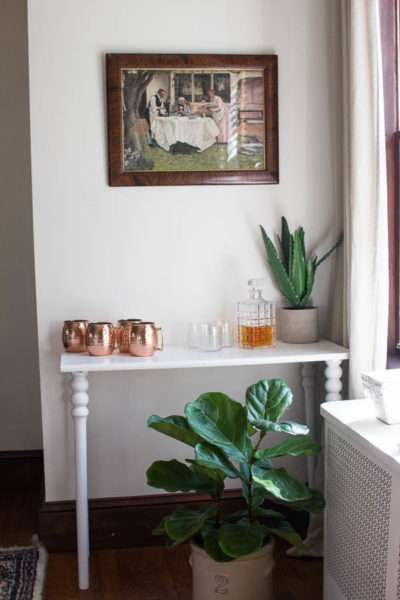 DIY Faux Marble Bar Console by Finding Silver Pennies