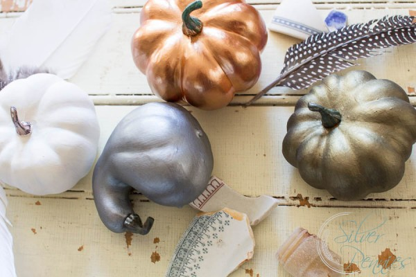 Fusion Mineral Paint Metalics on Pumpkins