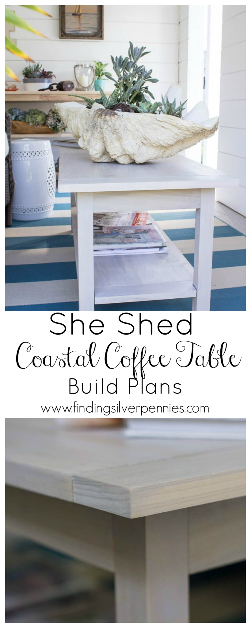 She shed diy coastal coffee table finding silver pennies how to build a coastal coffee table geotapseo Choice Image