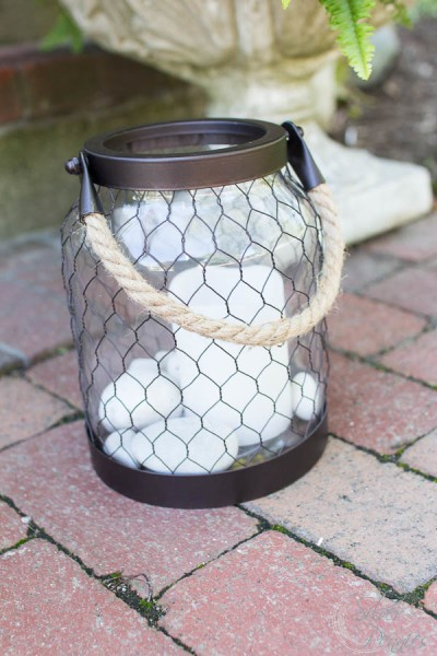 Lanterns with Beach Stones