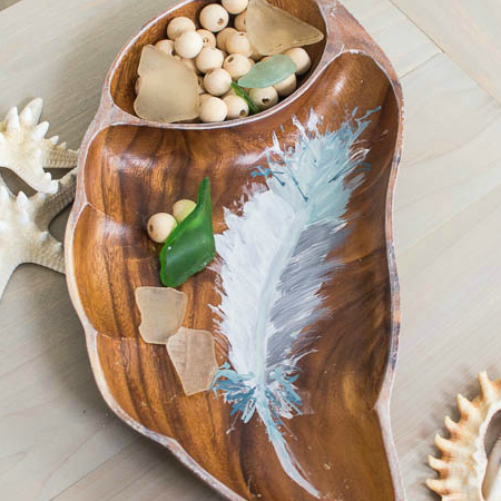 Handpainted feather tray square