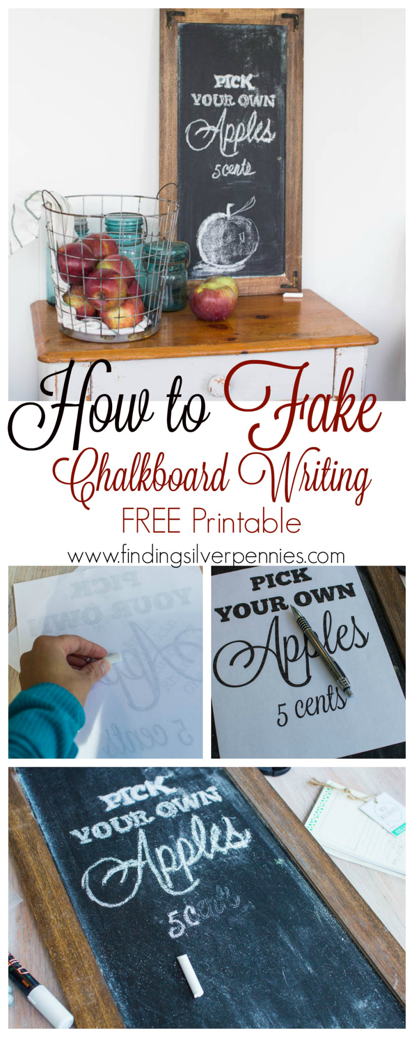 How to Fake Chalkboard Writing with Free Printable