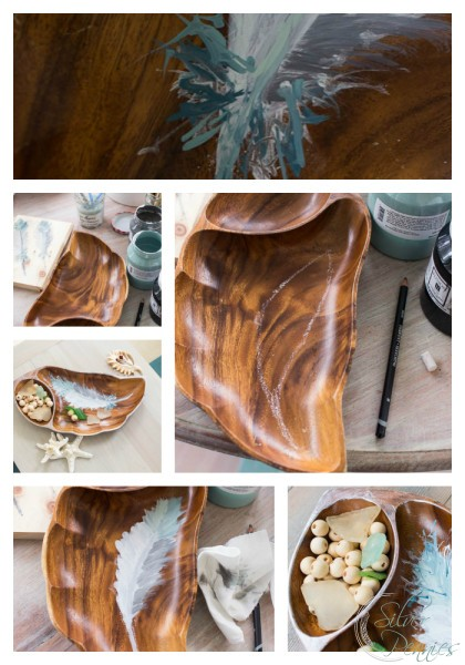 How to Hand paint feather on a tray