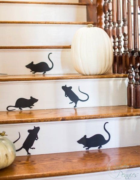 Mice climbing our stairs for Halloween