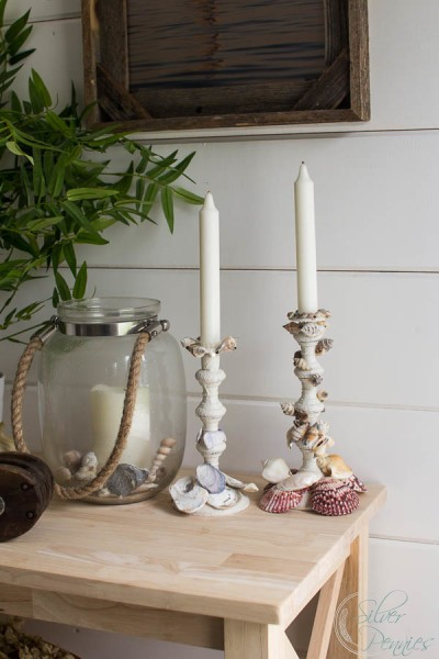 Shell Encrusted Candle Sticks Upcycle
