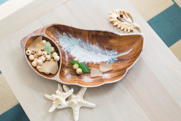Tray with Handpainted Feather