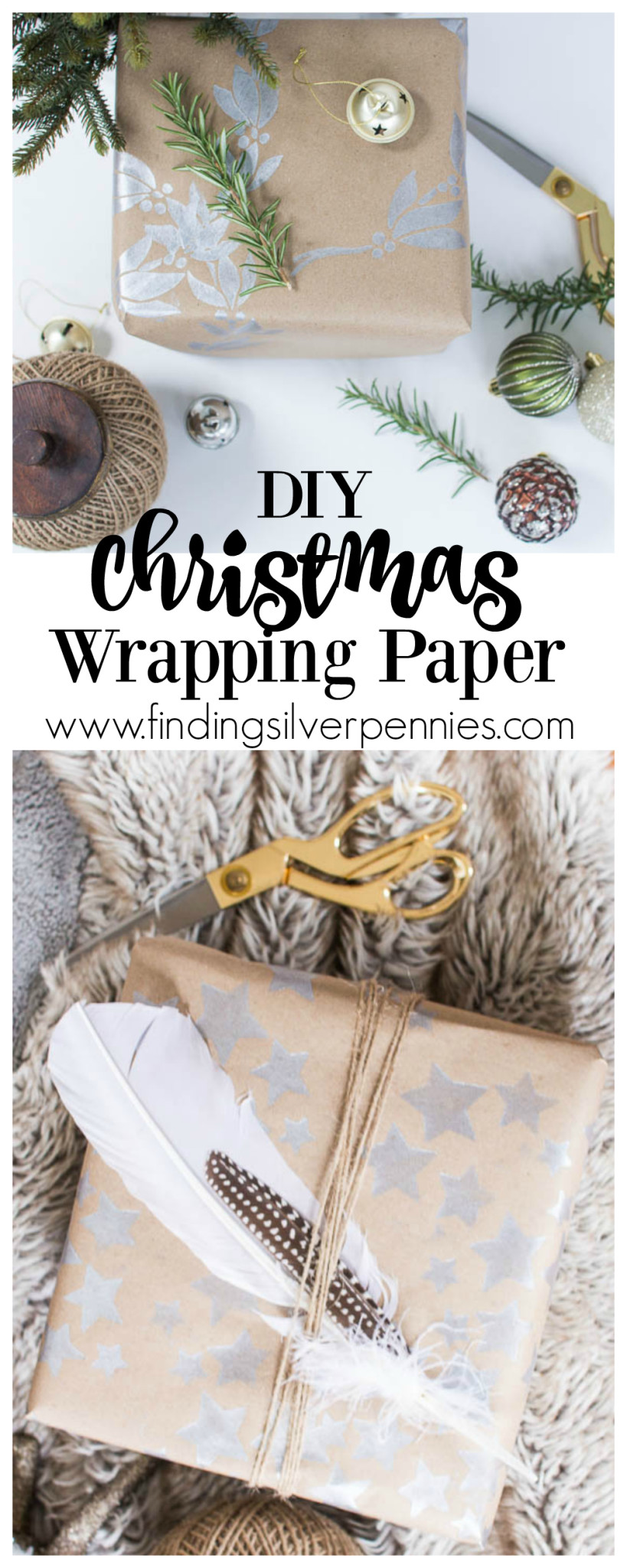DIY Christmas Wrapping Paper by Finding Silver Pennies