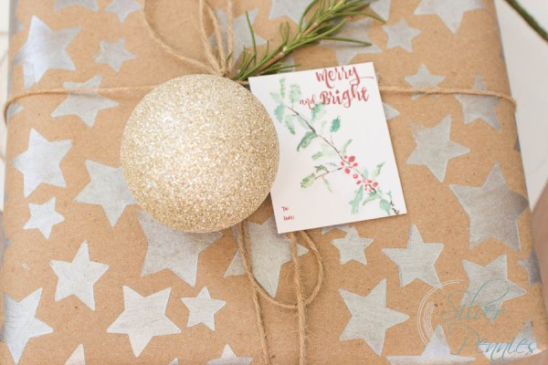 Holly Branch Gift Tags on Present