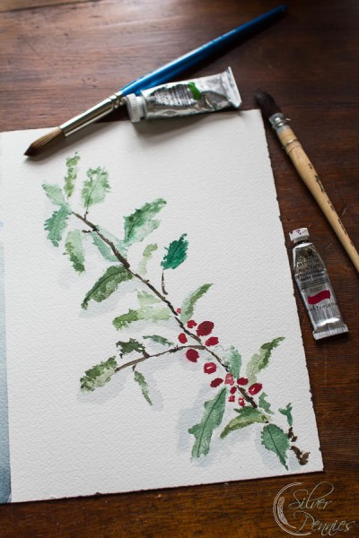 Holly Branch Watercolor