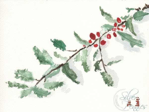 Holly Watercolor Gift Tag