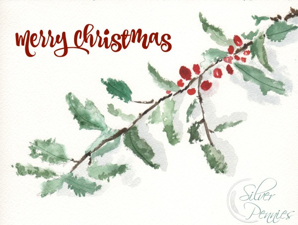 Holly Watercolor (Free Printable)