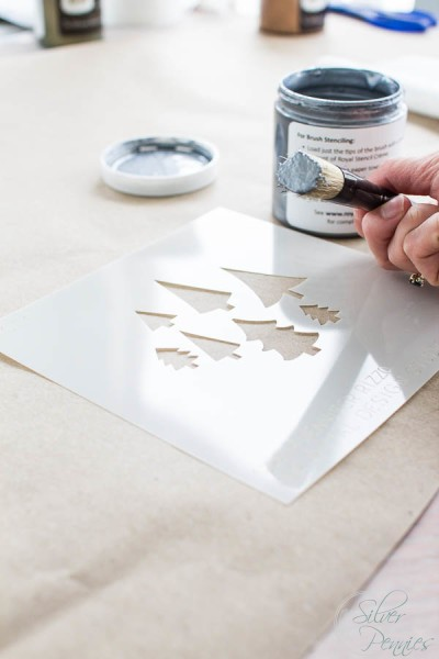 Stenciling Wrapping Paper
