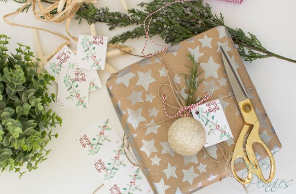 Wrapping Gifts with Free Printable Tag