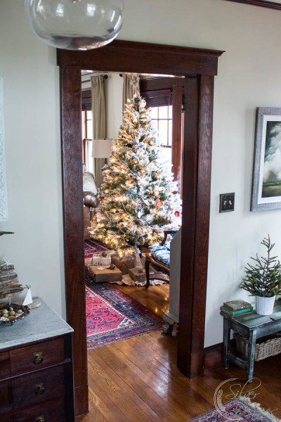 A view of the tree from the stairs