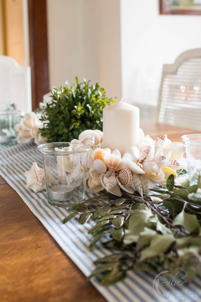 Coastal Christmas Tablescape in the Dining Room