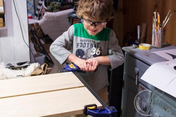 Conor helping build table