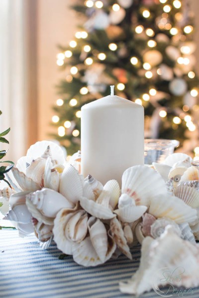 Dining Room Shells and Candles