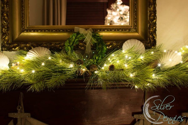 Mantel at Night for Christmas