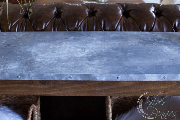 Surface of Faux Galvanized Table