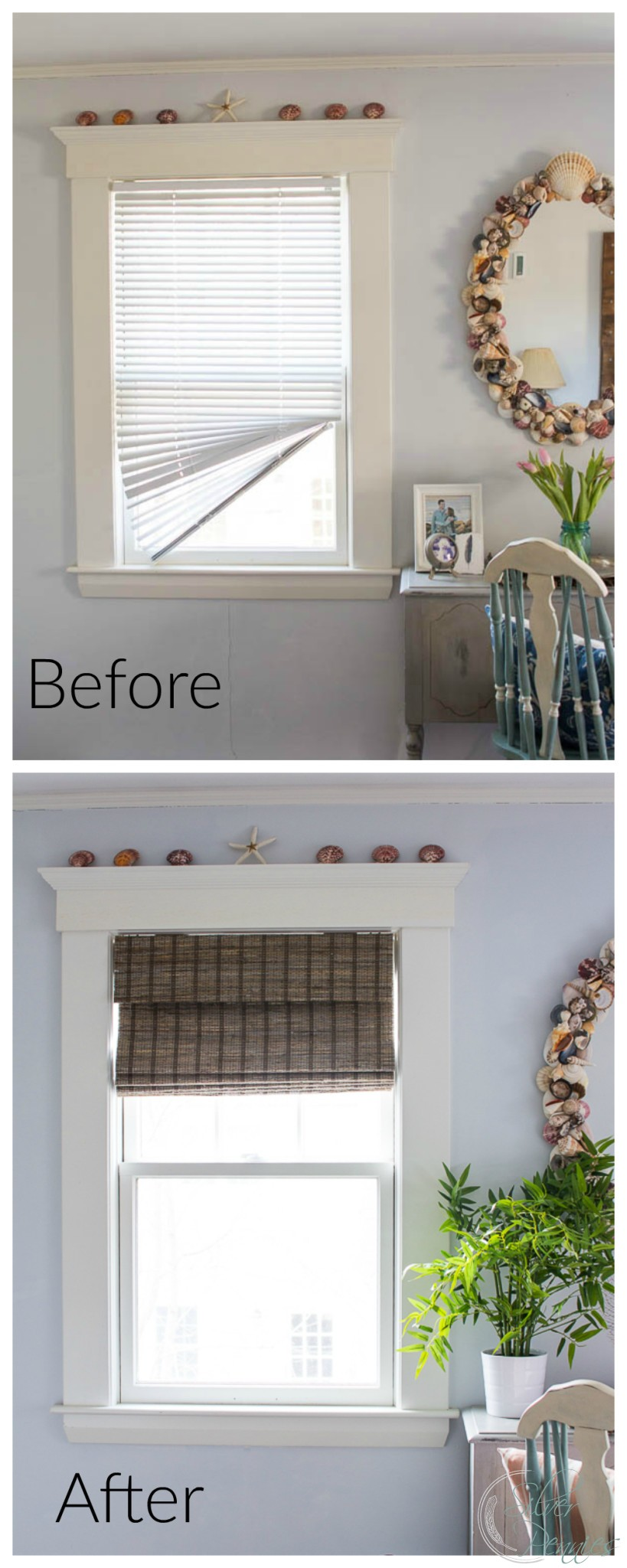 Before and After New Blinds in the Bedroom