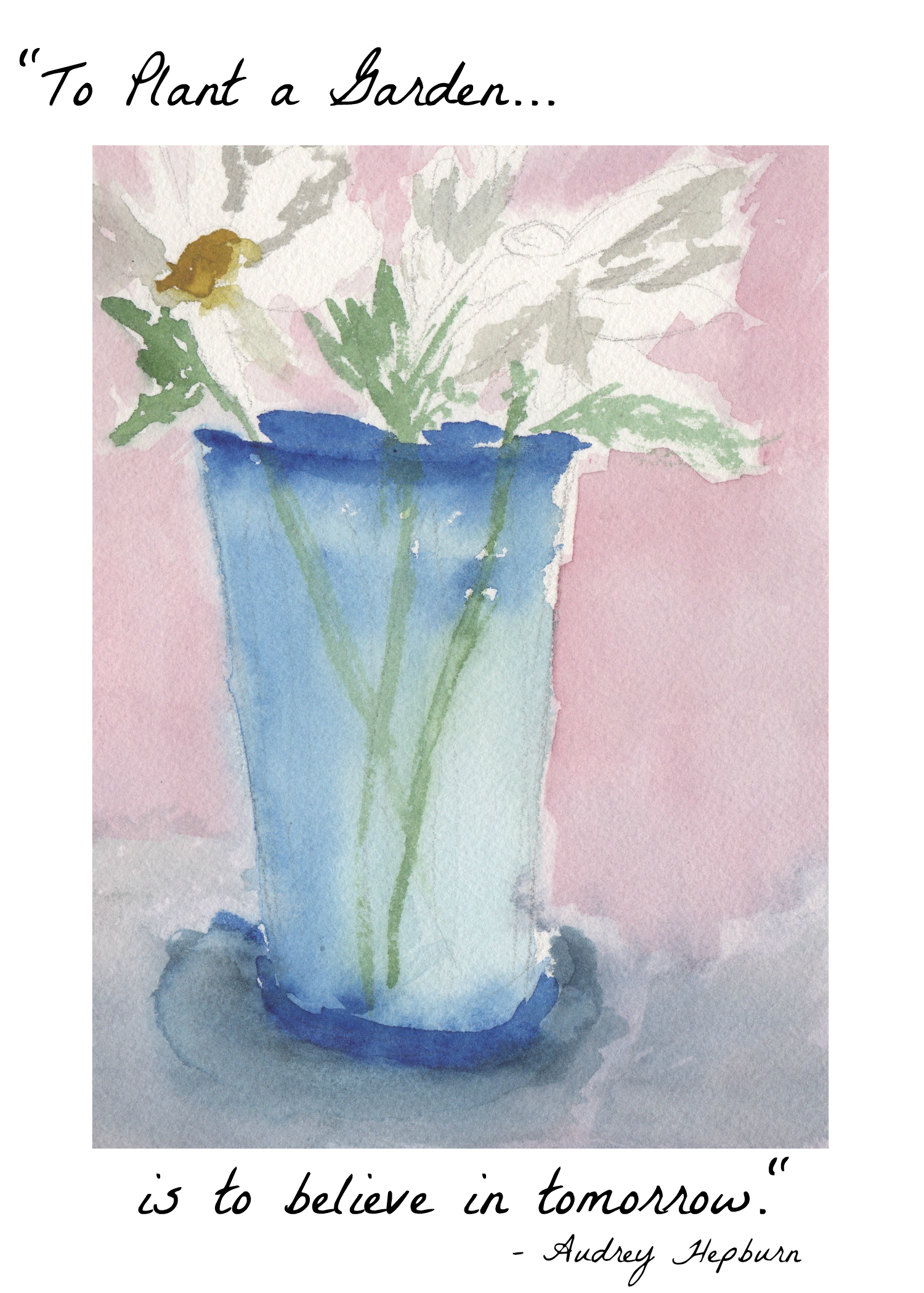 photo about Free Printable Watercolor Pictures to Paint identify In the direction of Plant a Backyard garden Daisy Watercolor Cost-free Printable - Locating