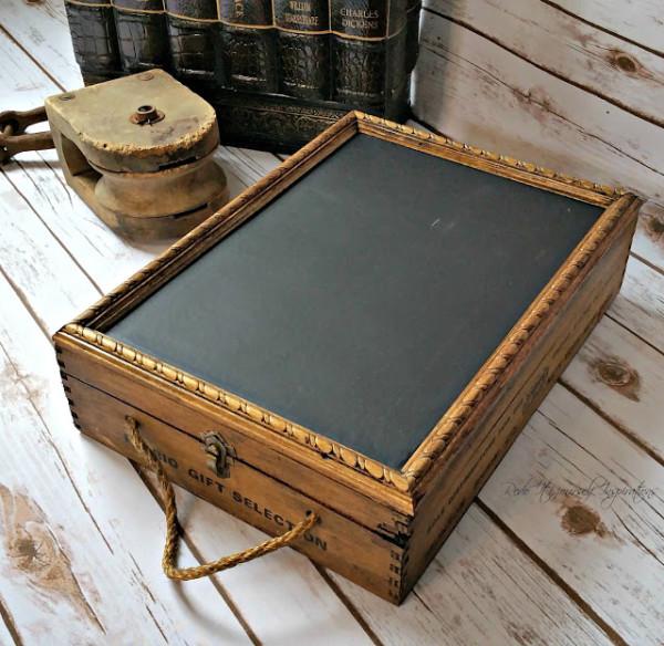 wine crate into chalkboard box