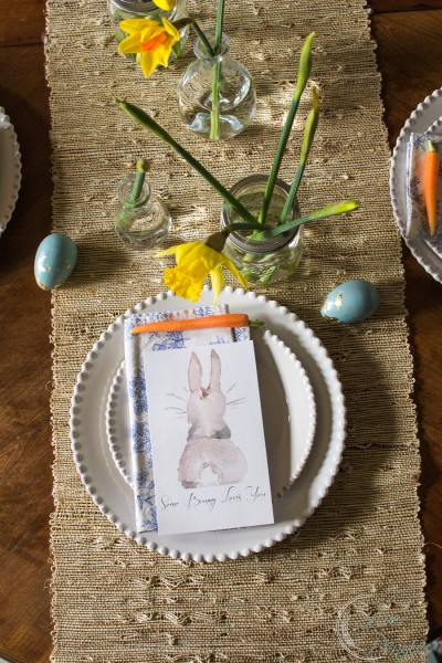 Pretty Easter Table Setting with Bunny Watercolor by www.findingsilverpennies.com
