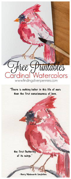 Cardinal Watercolor Free Printables by Finding Silver Pennies