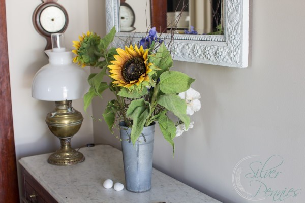Spring Home Tour - Decorating with flowers for spring - Finding Silver Pennies Blog.