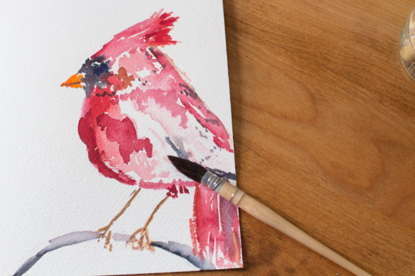 Painting a Cardinal in Watercolor & several free printables