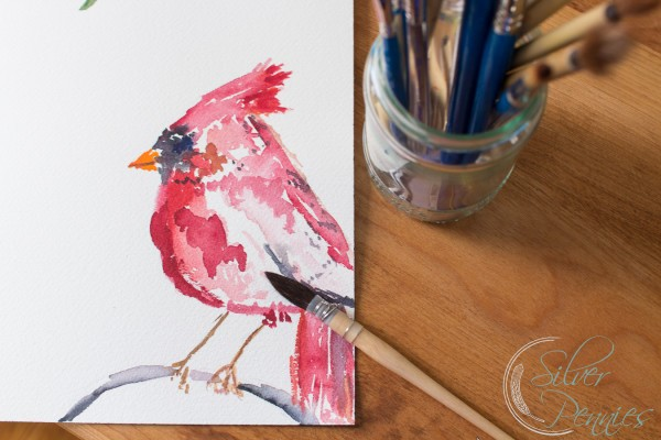 graphic regarding Free Printable Pictures of Cardinals referred to as A Cardinal Watercolor No cost Printable - Getting Silver Pennies