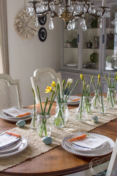 Genial Pretty Easter Table Setting With Bunny Watercolor By  Www.findingsilverpennies.com