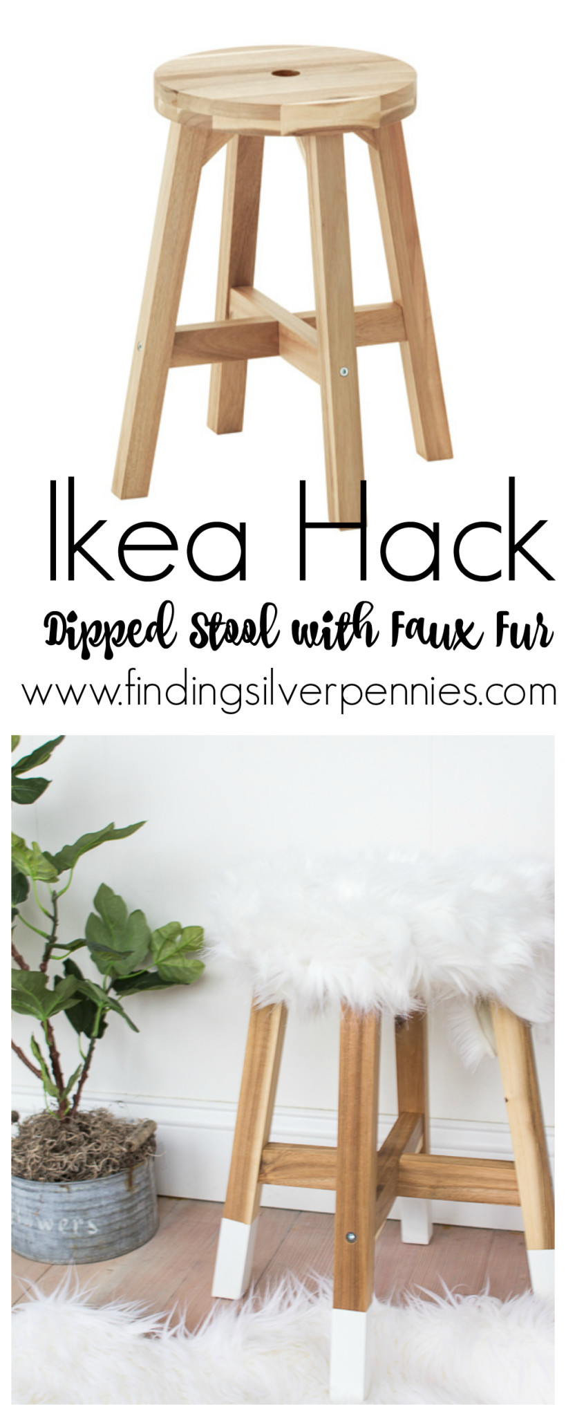 Ikea Hack Dipped Stool by Finding Silver Pennnies