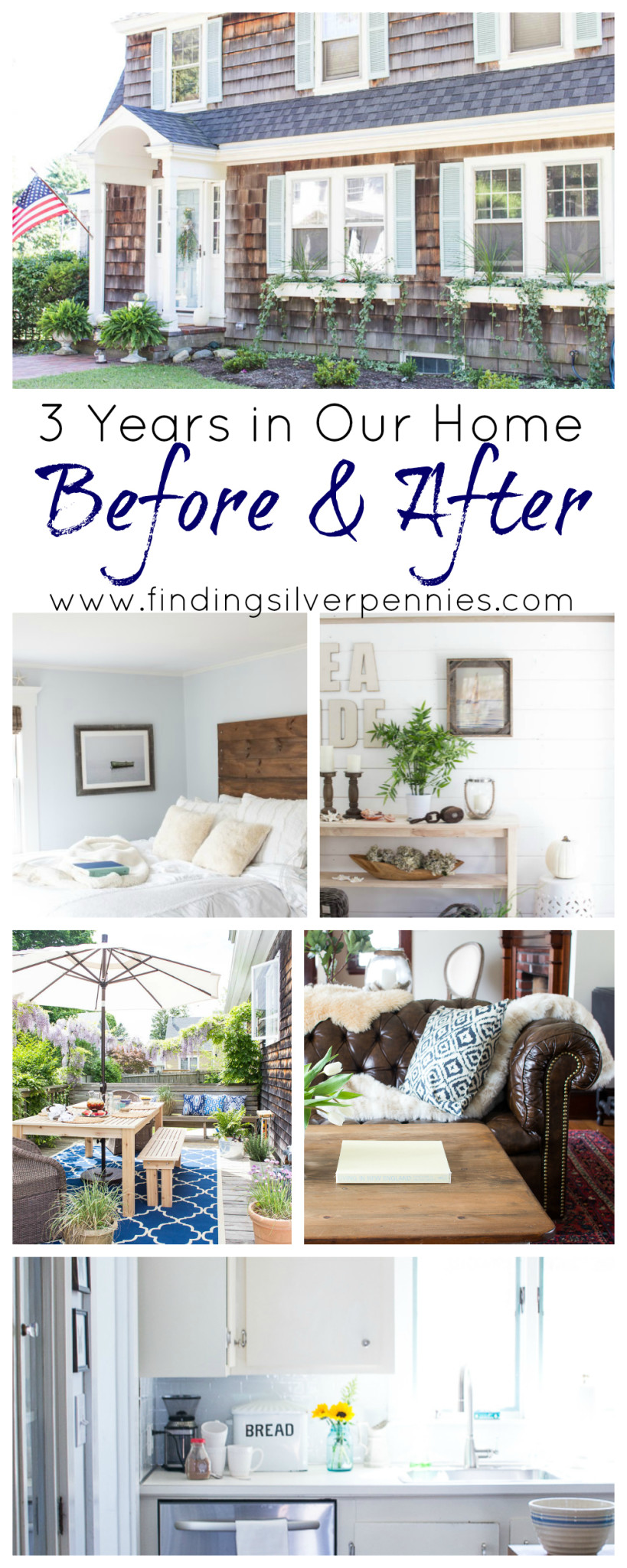 A before & after home tour celebrating three years in our home. It is incredible how much we've done in the past year. www.findingsilverpennies.com