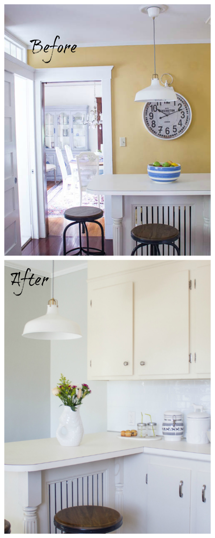 A before & after home tour celebrating three years in our home. It is incredible how much we've done in the past year. The Kitchen. www.findingsilverpennies.com