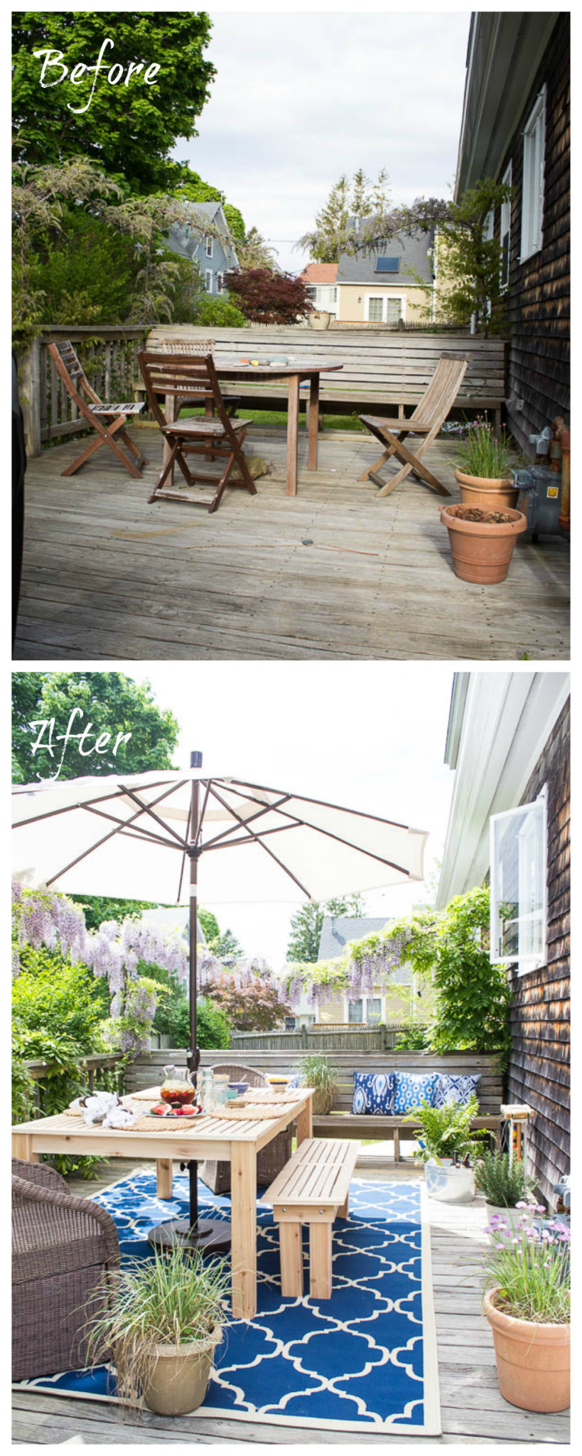 A before & after home tour celebrating three years in our home. It is incredible how much we've done in the past year. The Deck. www.findingsilverpennies.com