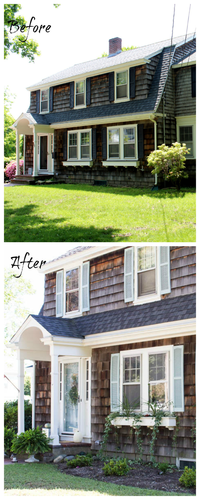 A before & after home tour celebrating three years in our home. It is incredible how much we've done in the past year. The exterior. www.findingsilverpennies.com