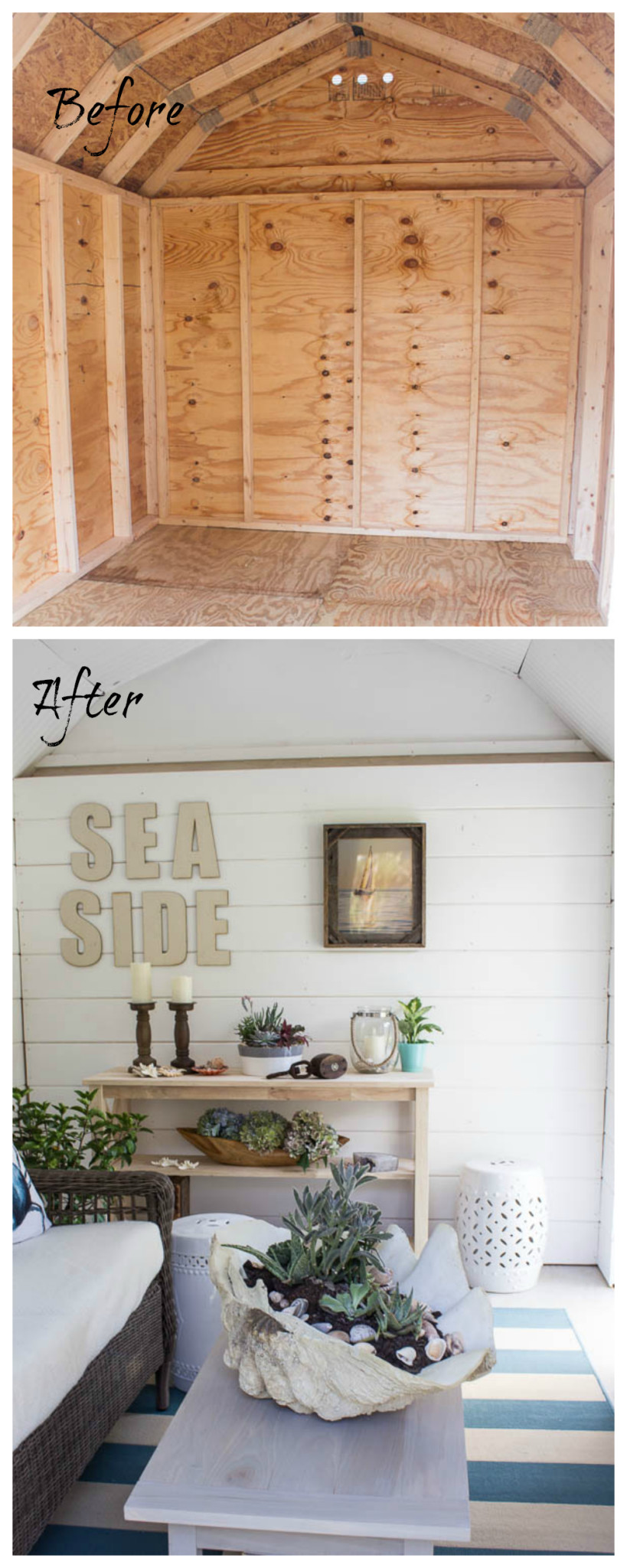 A before & after home tour celebrating three years in our home. It is incredible how much we've done in the past year. Interior of the She Shed. www.findingsilverpennies.com