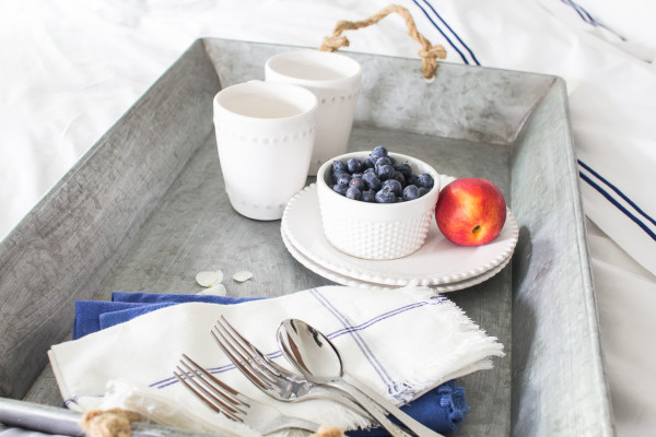 Lazy breakfast in bed and beautiful new linens. www.findingsilverpennies.com