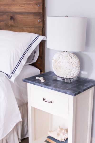 Gorgeous faux soapstone bedside table and how to create this finish in your own home.