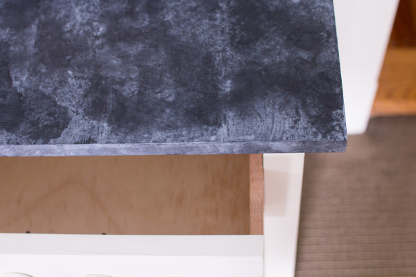 DIY Faux Soapstone with paint! We built this beautiful bedside table and created a faux finish on the top.