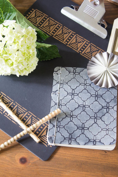 Morrocan Stencils on Notebooks - Ikea Hack for your Office.