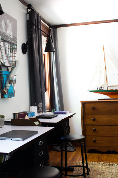 Modern Vintage Desk Area in our Boys' Bedroom. This space is perfect for homework or crafts!